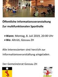 Info 3-fach Sporthalle Gossau ZH - Artikel Zürcher Oberländer